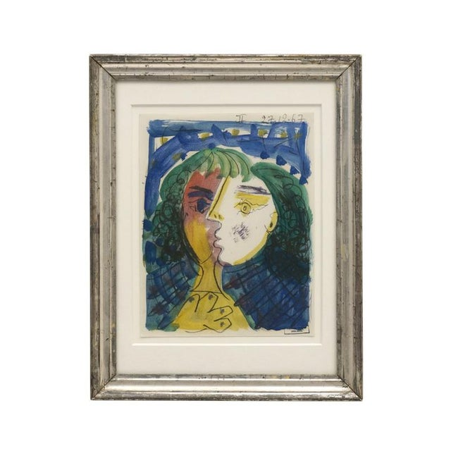 An original abstract watercolor painting of woman with green hair by Raymond Debieve (1931-2011). Signed & dated, 1967....