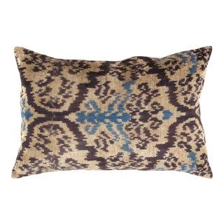 "Silk Velvet Ikat Pillow - 16""x24"" (Ti 170) For Sale"