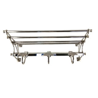 1990s Art Deco Double Nickel Plated Restoration Hardware Shelf/Coatrack For Sale