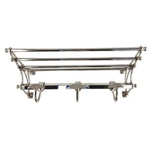 1990s Art Deco Double Nickel Plated Restoration Hardware Shelf/Coatrack For Sale