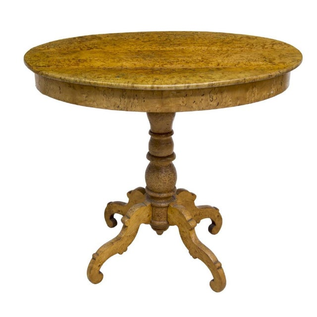 Mid 19th Century Swedish Biedermeier Burlwood Veneer Oval Top Side Table For Sale - Image 5 of 5