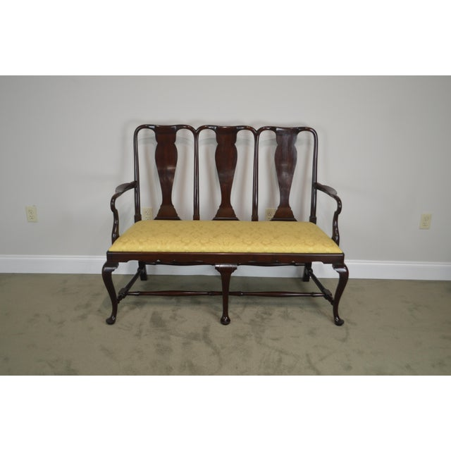 Queen Anne Custom Mahogany Triple Back Settee For Sale - Image 4 of 13