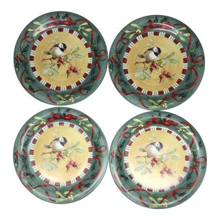 Lenox Winter Greetings Everyday Chickadee Dinner Plates -Set of 4 For Sale