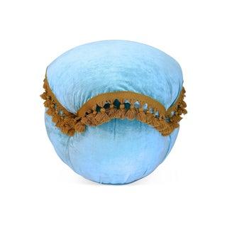 Light Blue Velvet Fringed Ottoman For Sale