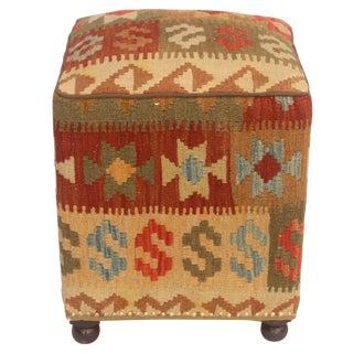 Chet Tan/Green Kilim Upholstered Handmade Ottoman