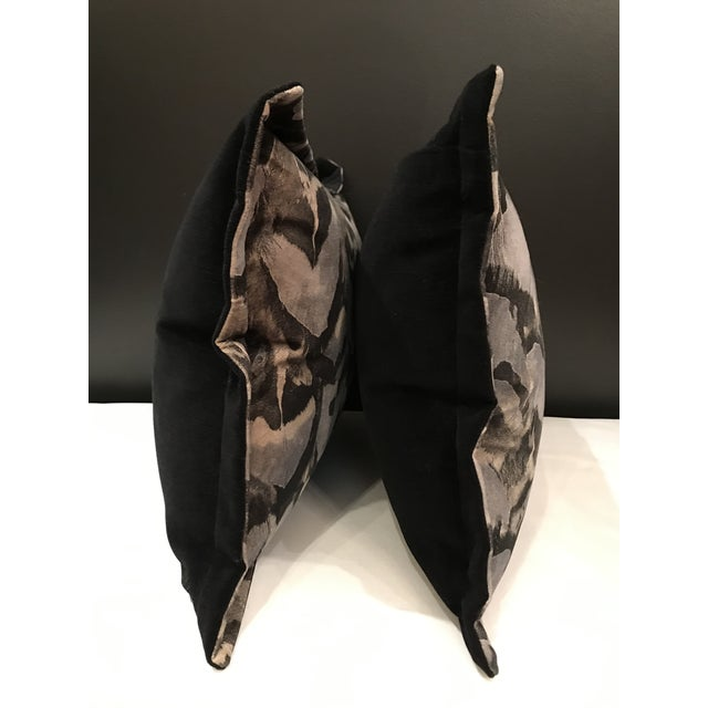 Contemporary Scalamandre Velvet Feather Amimal Print Pillows - a Pair For Sale - Image 6 of 7