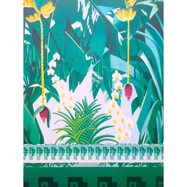 """Various Artists Vintage 1980 """" Gary Shaw Key West """" Tropical Botanical Lithograph Print Framed Exhibition Poster For Sale - Image 4 of 13"""
