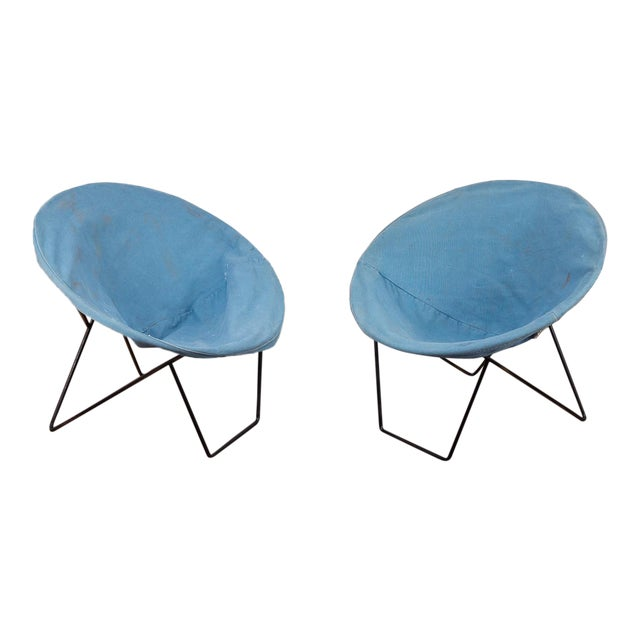 Outdoor Blue Hoop Chairs - A Pair For Sale