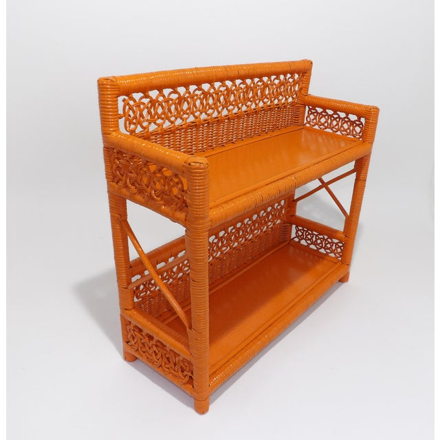 Orange Mid Century Modern Orange Wicker Bathroom Shelf For Sale - Image 8 of 8