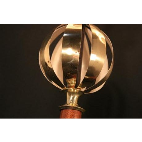Metal Pair of Vintage Mid Century Modern Lightolier Brass Orb Lamp Gerald Thurston Era For Sale - Image 7 of 12