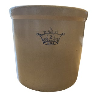 Vintage Stoneware Robinson Ransbottom Crock With Blue '2' Crown Marking For Sale