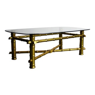 Hollywood Regency Gold Leaf Bamboo Coffee Table For Sale