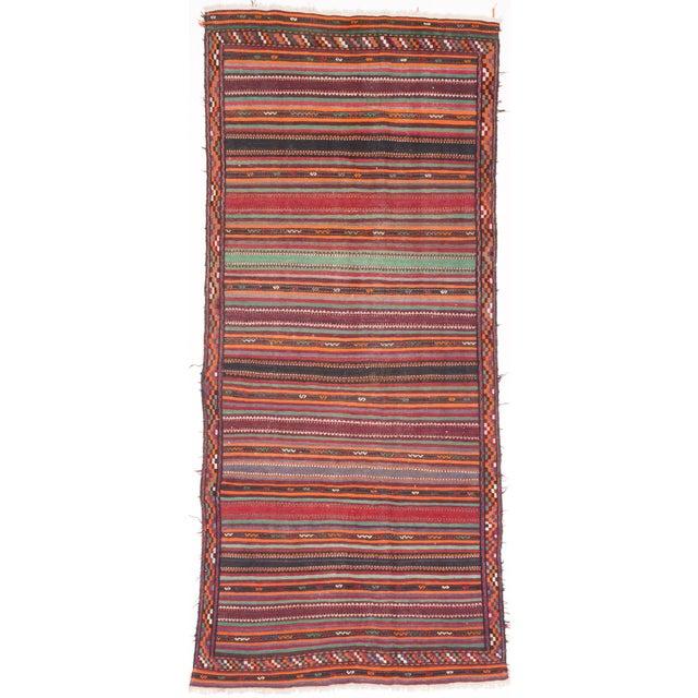 """QASHQAI Vintage Persian Kilim Rug, 5'1"""" x 11'0"""" feet - Image 3 of 3"""