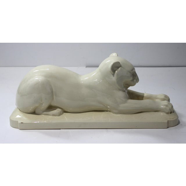 Art Deco 1930's White Panther Sculpture For Sale - Image 4 of 13