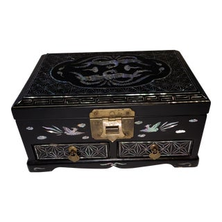 Vintage Korean Black Lacquer With Mother of Pearl Inlay Jewelry Box For Sale