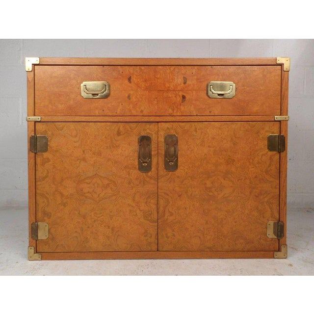 Vintage Modern Burl Campaign Chest For Sale - Image 9 of 9