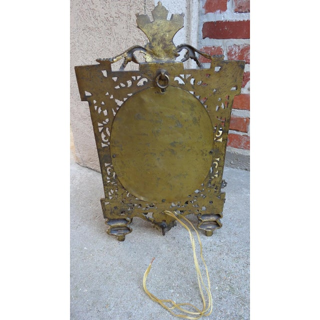 Metal Antique French Brass Wall Sconce Light Fixture Beveled Oval Mirror Art Nouveau For Sale - Image 7 of 12