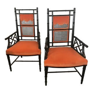 1960s Chinese Chippendale Orange Velvet Upholstered Chairs - a Pair