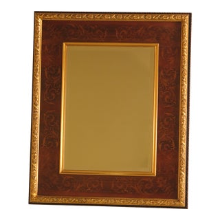 Horchow Italian Highly Inlaid Walnut Framed Mirror For Sale