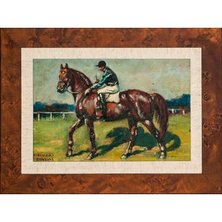 Jockey Up on Racehorse Oil on Canvas For Sale