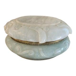 Large Vintage Italian Celadon Green Carved Alabaster and Brass Casket Box For Sale