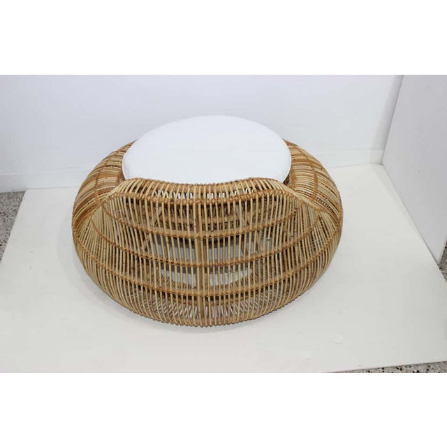 Franco Albini Vintage Franco Albini Attributed Rattan Lounge Chair For Sale - Image 4 of 13