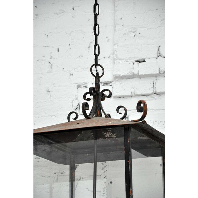 Metal Continental Style Black Iron Lantern For Sale - Image 7 of 10