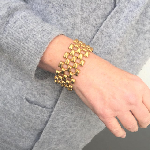 Mid-Century Kreisler Geometric Open-Link Vermeil Bracelet 1940s For Sale - Image 12 of 13