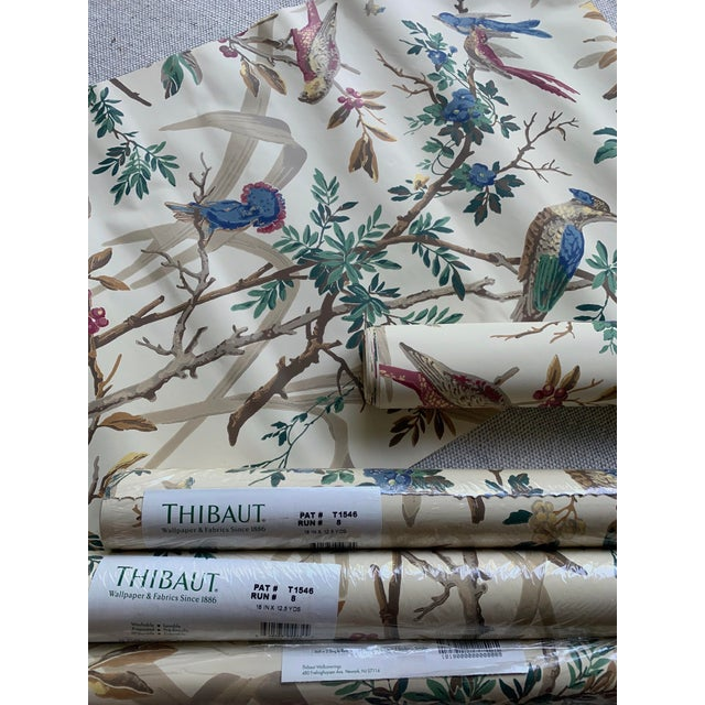 Vintage Thibaut Botanical Wallpaper Rolls - 2 Double Rolls & 2 Single Rolls For Sale - Image 9 of 12
