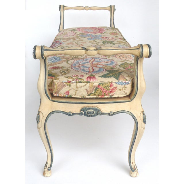 John Widdicomb Hand-Painted Louis XV Style Caned Bench W/ Cushion For Sale In Miami - Image 6 of 11