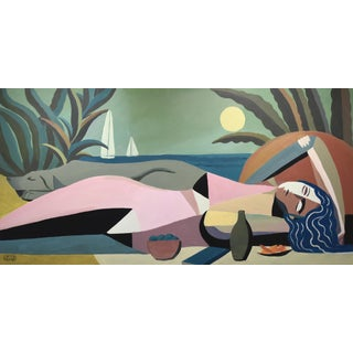 """Sleeping Woman & Dog"" Art Deco Painting by Mike Willcox For Sale"