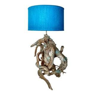 Blue & White Driftwood Lamp For Sale
