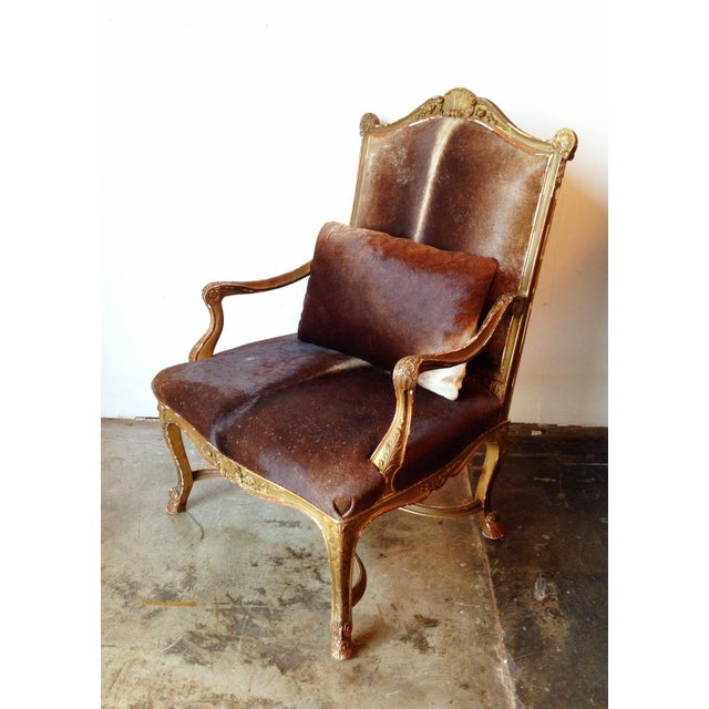 Gilded Hide Arm Chair - Image 4 of 7