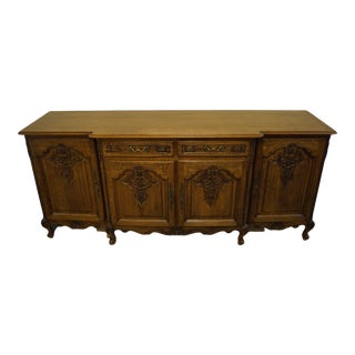 """Vintage Antique Walnut Louis XVI French Provincial 87"""" Sideboard Buffet For Sale"""