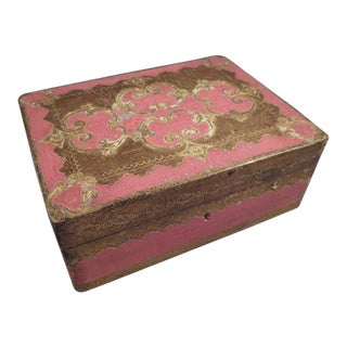Vintage Pink & Gold Florentine Wooden Box