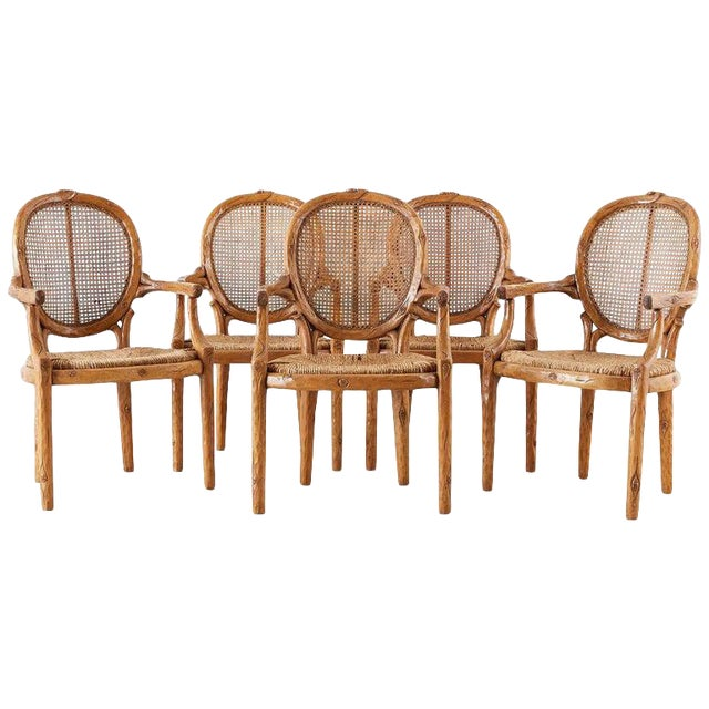 William Switzer Faux Bois Cane and Rush Seat Armchairs For Sale