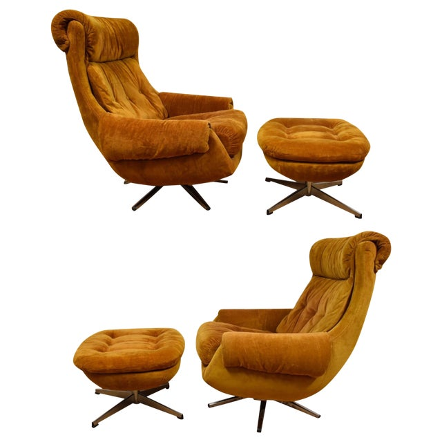 Orange Lounge Chairs & Ottomans - a Pair - Image 1 of 10