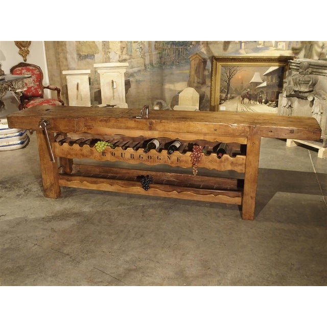 """Antique """"Bourgogne"""" French Wine Carrier Converted From a Workbench For Sale - Image 13 of 13"""