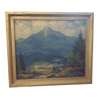 Village Mountain Scene Painting For Sale