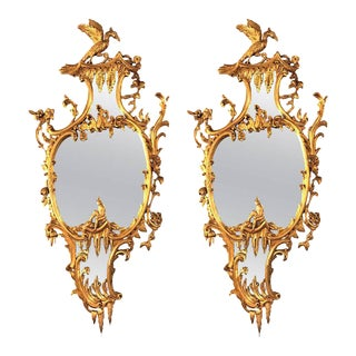 George II Style Giltwood Wall or Console Mirrors - A Pair For Sale