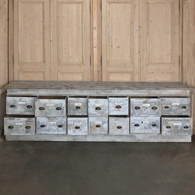 Rustic Grand 19th Century Apothecary Store Counter For Sale - Image 3 of 13
