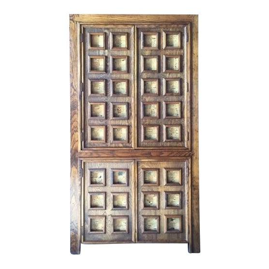 Vintage Wood and Cork Brutalist Armoire - Image 1 of 9