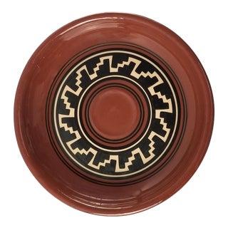 Vintage Terra Cotta Platter - Geometric Primitive Design - South American For Sale