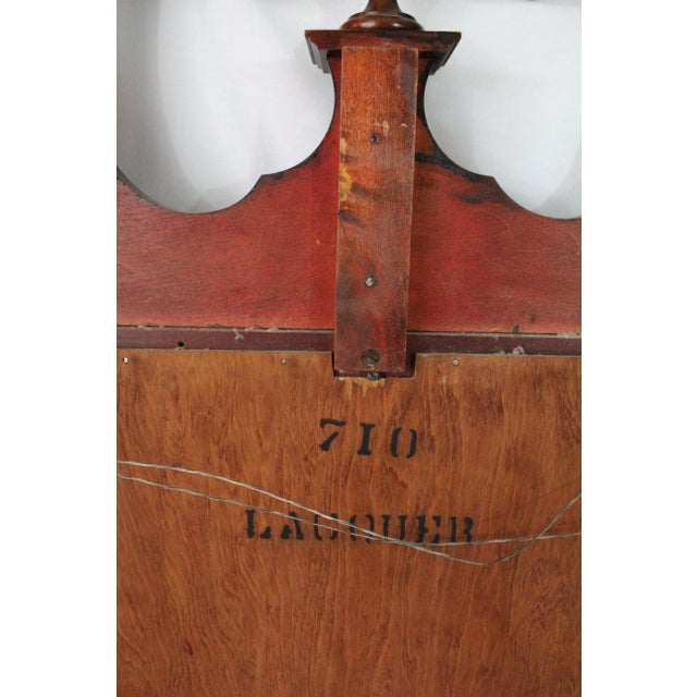 Wood 1920's Antique Scroll Top Shell & Acorn Finial Mirror For Sale - Image 7 of 10