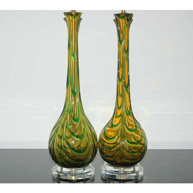 Vintage Murano Glass Table Lamps Gold Green For Sale - Image 4 of 9