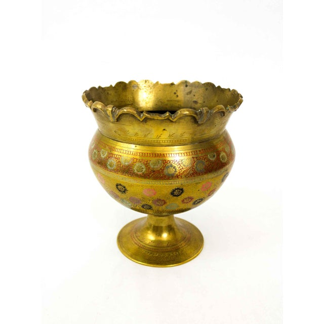 Metal Brass Floral Etched Vase For Sale - Image 7 of 7