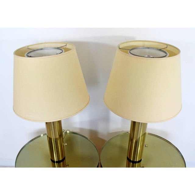1970s 1970s Mid-Century Modern Cylindrical Brass Table Lamps - a Pair For Sale - Image 5 of 5