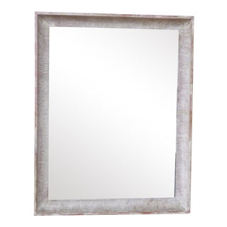 Vintage Modern Combed Finish Whitewashed Mirror For Sale