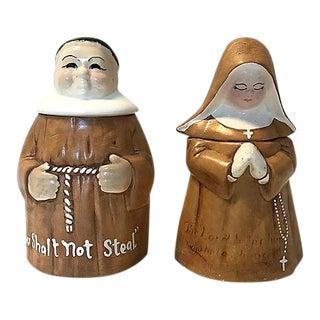 Midcentury DeForest Monk/Nun Cookie Jars - a Pair For Sale