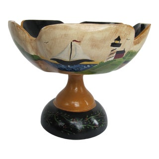 Hand-Painted Wood Pedestal Bowl With Farms, Orchards, and More For Sale